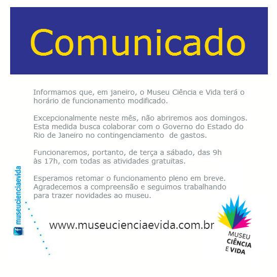 COMUNICADO – Funcionamento em janeiro