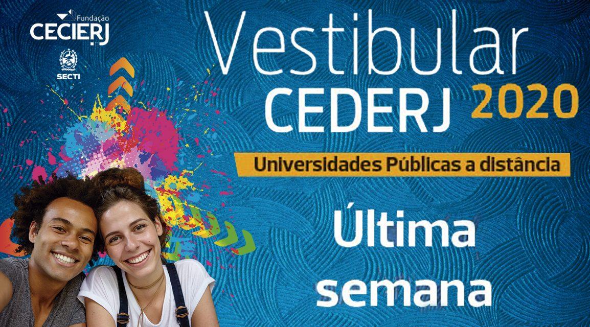 Últimos dias de inscrições para o Vestibular Cederj 2020.1
