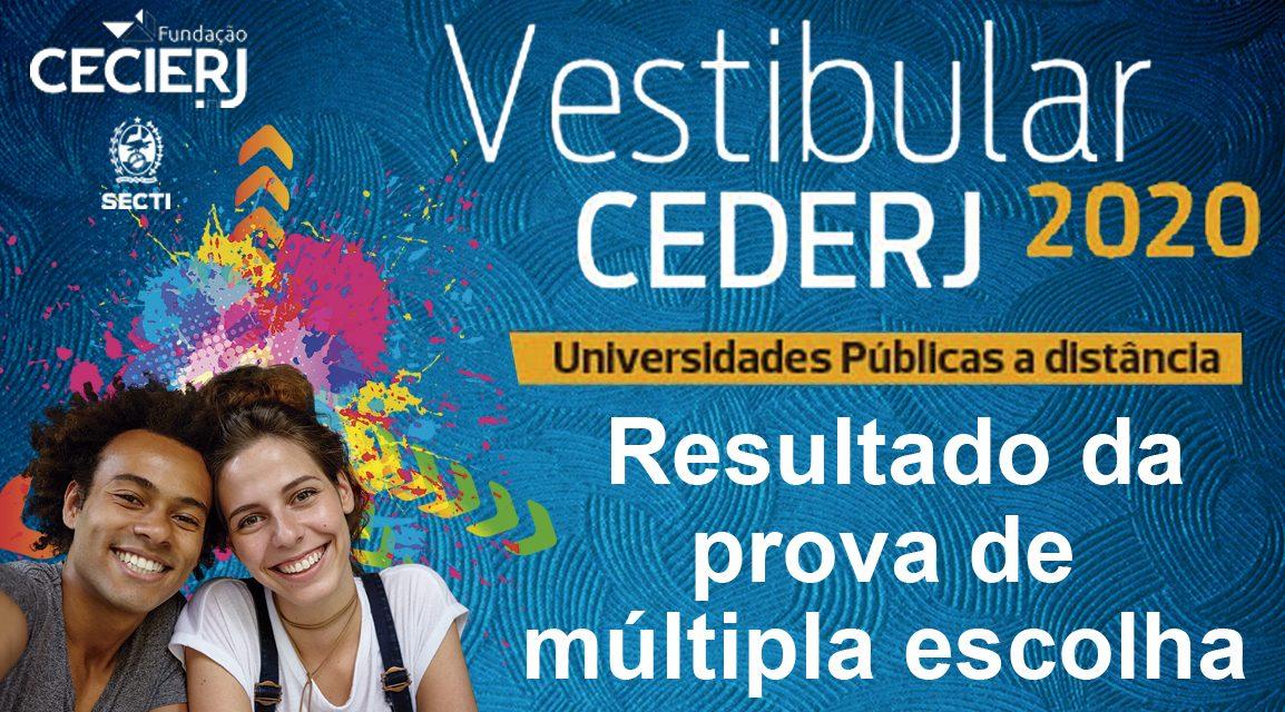 Resultado da prova de Múltipla Escolha do Vestibular Cederj