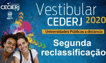 Veja a lista da segunda reclassificação do Vestibular Cederj 2020.1