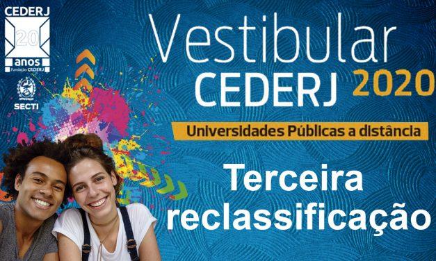 VEJA A LISTA DA TERCEIRA RECLASSIFICAÇÃO DO VESTIBULAR CEDERJ 2020.1