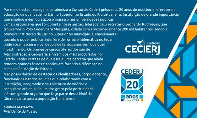 Presidente da Faetec homenageia o Cederj pelos 20 anos