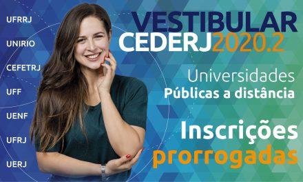 Prorrogada a inscrição para o Vestibular Cederj 2020.2