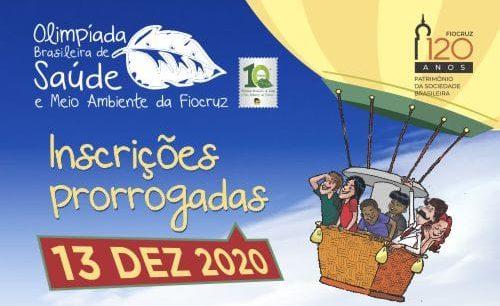 Prorrogadas as inscrições pra Olimpíada Brasileira de Saúde e Meio Ambiente