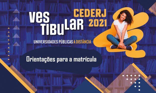 Orientações sobre a matrícula do Vestibular Cederj 2021.1