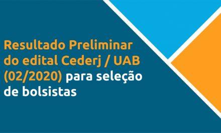 Confira o resultado preliminar do edital Cederj / UAB (02/2020) para seleção de bolsistas