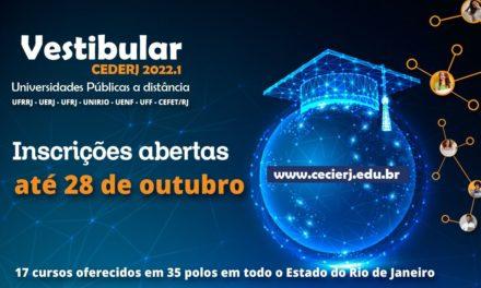 Vestibular Cederj 2022.1: inscrições abertas para ampla concorrência